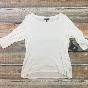 Simply Vera Wang | White Ribbed 3/4 Sleeve Top